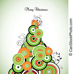 Retro Circle Christmas Tree. Vector - Retro circle christmas...