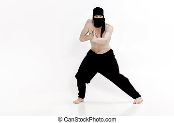 Ninja on white background. Male fighter in black clothes -...