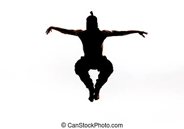 Male ninja silhouette on white background - Male ninja...
