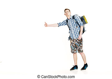 Travel man hitchhiking. young male hitchhiker on white...