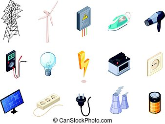 Electricity Isometric Icons Set - Electricity isometric...