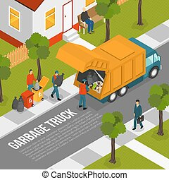 Isometric Garbage Recycling Composition - Colored isometric...