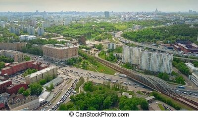 Aerial shot of cityscape and congested traffic in Moscow in...