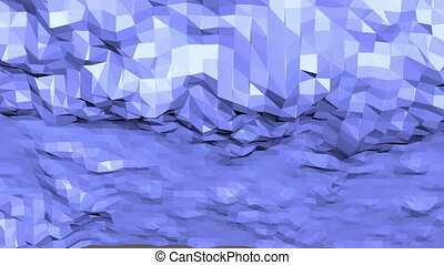 Blue low poly vibrating surface as poligonal environment....