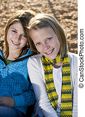 Portrait of two little girls - Close-up of young friends...