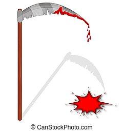 Bloody scythe - Bloody spit, vector art illustration for...