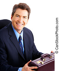 Smiling handsome businessman. Isolated over white background...