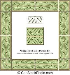 Antique tile frame pattern set Oriental Green Curve Wave Square Line