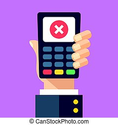 Credit card machine with cross mark. Hand holding point of...