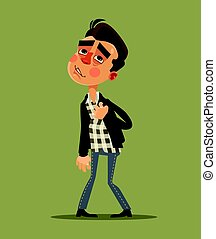 Young man have heart attack. Vector flat cartoon...