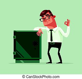 Happy smiling rich office worker businessman character stand near safety safe deposit box. Vector flat cartoon illustration