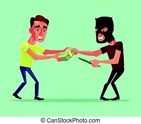 Robber tries to take money from office worker businessman...