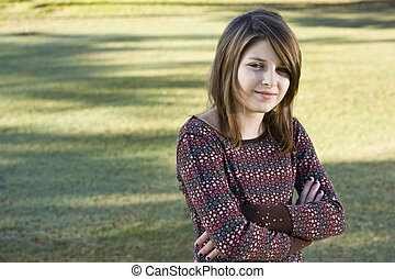 Portrait of confident young girl - Confident child, 11...
