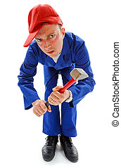 Awkward repairman with hammer - Awkward dangerous repairman...