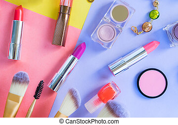 Colorful make up flat lay scene - Colorful make up products...