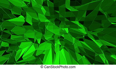 Dark green low poly waving surface as crystal mesh. Dark green polygonal geometric vibrating environment or pulsating background in cartoon low poly popular modern stylish 3D design..