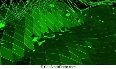 Dark green low poly waving surface as crystal grid. Dark green polygonal geometric vibrating environment or pulsating background in cartoon low poly popular modern stylish 3D design. 1.
