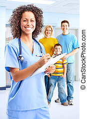 Smiling medical nurse - Smiling family medical doctor nurse...