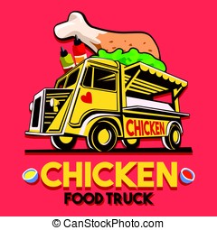 Food Truck Crispy Fried Chicken Wings Fast Delivery Service Vector Logo