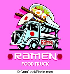 Food Truck Ramen Restaurant Fast Delivery Service Vector...