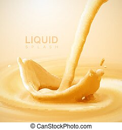 Pouring liquid crown splash on swirling whirlpool creamy background.