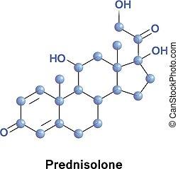 Prednisolone steroid medication molecule - Prednisolone...