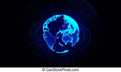 Rotation of a shining Planet Earth with particles. Abstract background with a blue planet