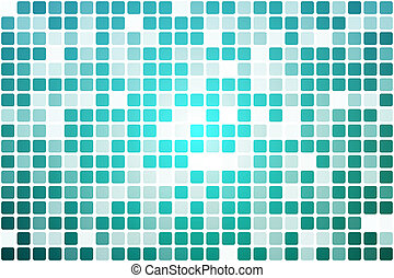 Turquoise shades occasional opacity mosaic over white -...