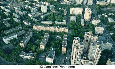 Aerial shot of a typical Moscow residential area, Russia. 4K...