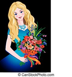 Girl. - Beautiful girl with flowers. Vector art-illustration...