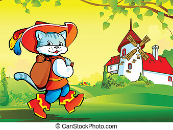 Puss in Boots. - Puss in Boots on landscape background....