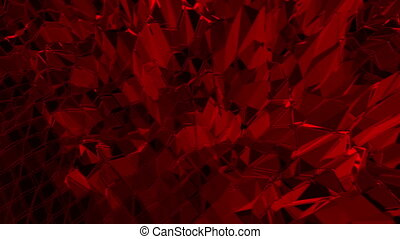Dark red low poly waving surface as beautiful background. Dark red polygonal geometric vibrating environment or pulsating background in cartoon low poly popular modern stylish 3D design 1.
