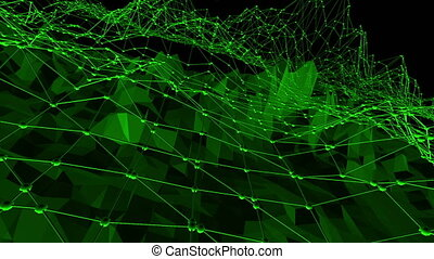 Dark green low poly waving surface as mathematical visualization. Dark green polygonal geometric vibrating environment or pulsating background in cartoon low poly popular modern stylish 3D design.