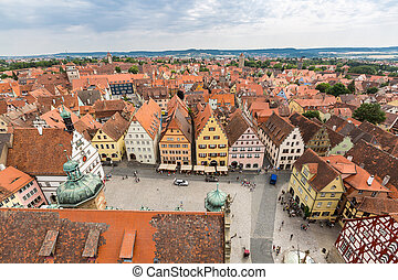 Aerial view of Rothenburg ob der Tauber historic town...