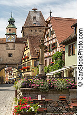 Rothenburg ob der Tauber historic town downtown in...