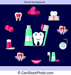 Medical dental background design with teeth. Vector...
