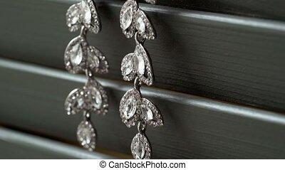 Beautiful jewelry earrings with rhinestones