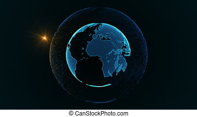 Rotation of a shining Planet Earth with particles. Abstract...