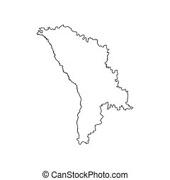 Moldova map silhouette - Moldova map on the white...