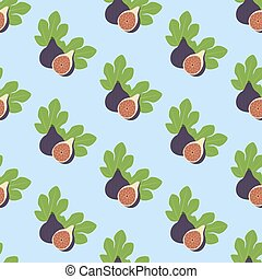 Fig Fruit pattern on the blue background. Vector...