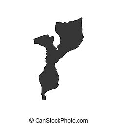 Mozambique map silhouette on the white background. Vector...