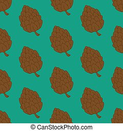 Pine cone pattern on the green background. Vector...