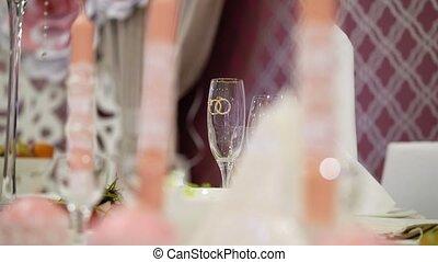 Wedding glasses on table in restaurant
