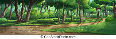 Paint illustrations in garden  and natural  in the morning