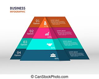 Pyramid infographic template with 4 elements. vector...