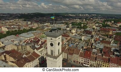 Town Hall City Lviv, Ukraine - Aerial Old City Lviv,...