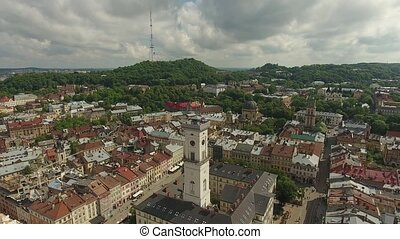 Town Hall City Lviv, Ukraine - Aerial City Lviv, Ukraine....