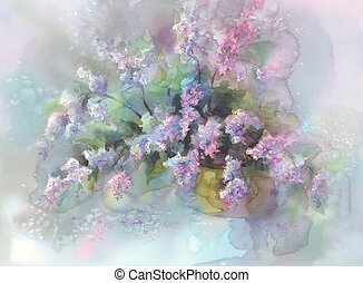 lilac flower watercolor - violet lilac flower branches in...