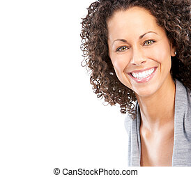 woman - Beautiful young smiling woman Isolated over white...