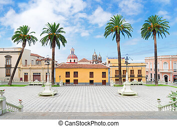 La Orotava, Tenerife village - square of Ayntamento in La...